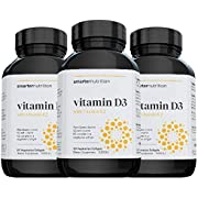 Plant-Based Vitamin D3 Immune Support with Vegan K2 Complex in a Vegetarian Softgel - Includes 5,000 IU of Vitamin D for Immunity Boost, Complete Bone Health (90 Servings)(Packaging May Vary)