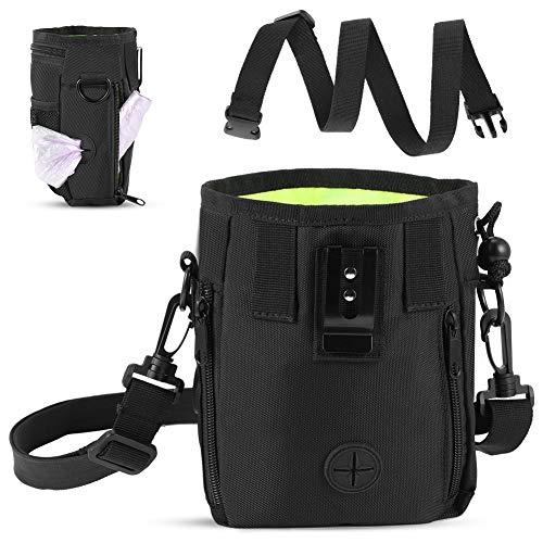 YOUTHINK Pet Treat Bag Bolsa para Entrenamiento portátil para Perros con Bolsa de Cintura Ajustable Correa para el Hombro Snack de Alimentos Bolsas de Almacenamiento de artículos pequeños Negro