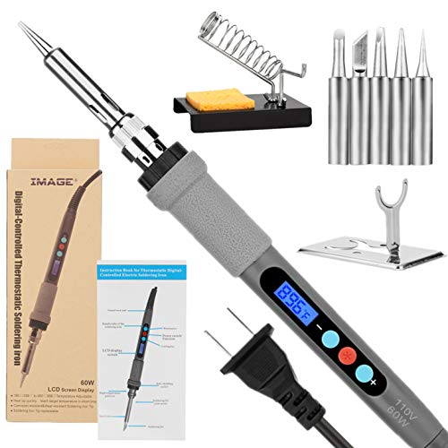 Welding Soldering Iron with Thermostatic Digital-Controlled and LCD Screen Display, 60 W Temperature Adjustable 180℃/356℉-480℃/896℉ with 5 PCS Soldering Bits, 2 Soldering Iron Stands & 1 Sponge