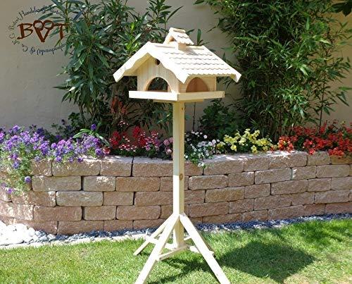 Vogelhaus, groß, BEL-X-VONI5-LOTUS-LEFA-natur002 Großes wetterfestes PREMIUM Vogelhaus mit wasserabweisender LOTUS-BESCHICHTUNG VOGELFUTTERHAUS + Nistkasten 100% KOMBI MIT NISTHILFE für Vögel WETTERFEST, QUALITÄTS-SCHREINERARBEIT-aus 100% Vollholz, Holz Futterhaus für Vögel, MIT FUTTERSCHACHT Futtervorrat, Vogelfutter-Station Farbe natur, MIT TIEFEM WETTERSCHUTZ-DACH für trockenes Futter - 6