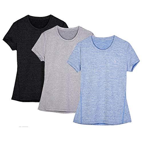 icyZone® Damen Sport T-Shirt Running Fitness Shirts Sportbekleidung Kurzarm Oberteile Shortsleeve Top XS Black/Granite/Blue