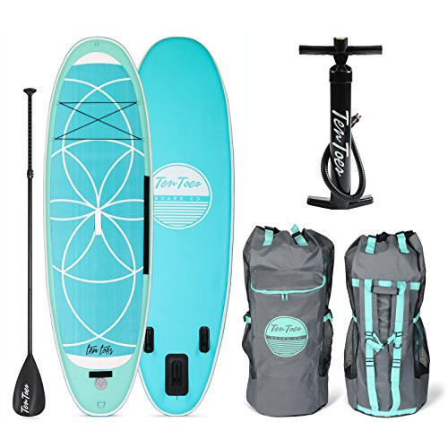 Retrospec Weekender-Yogi 10' Extra Wide Inflatable Stand Up Paddleboard Triple Layer Military Grade PVC iSUP Bundle w/ paddle board carrying case, aluminum paddle, removable fins, pump & phone case
