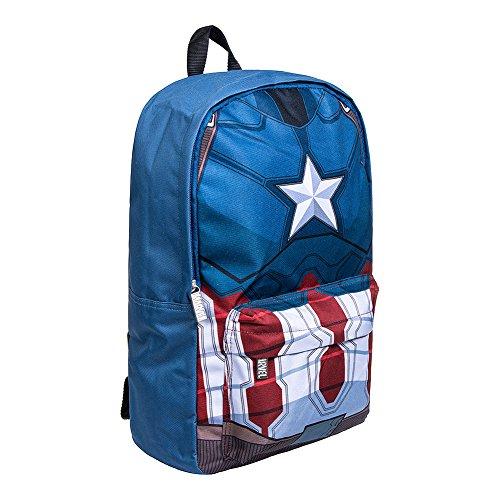 Marvel Comics Captain America Sac A Dos Zippé Imprimé Logo Superhéro (Bleu) - Taille Unique