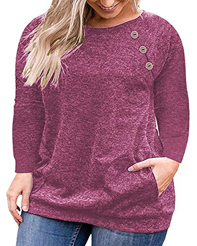 VISLILY Women's Plus Size Casual Long Sleeve Pullovers Shirts Loose Tunic Tops Wine Red 22W (Apparel)