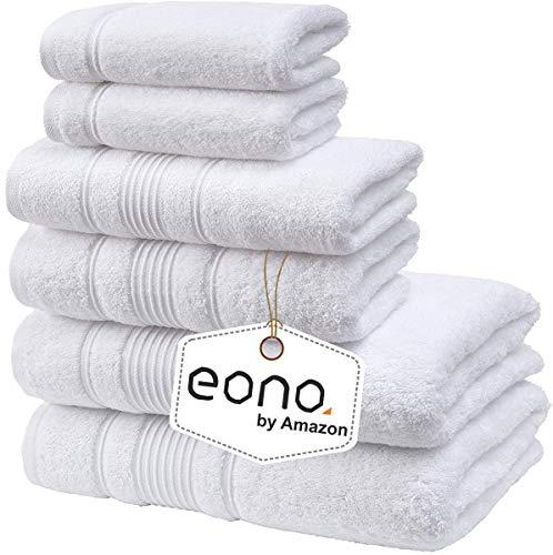 Eono von Amazon, Spa & Hotel Handtücher 6 Stück Handtuch-Set, 2 Badetücher, 2 Handtücher und 2 Waschlappen (Reines Weiß)