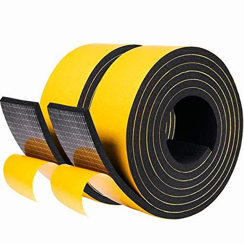 Türdichtung Schaumstoff klebeband 50mm(B) x6mm(D) Selbstklebend Dichtungsband Moosgummi Schaumstoff für Kollision Siegel Schalldämmung Gesamtlänge 4m (2 Rollen je 2m lang)