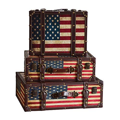 LiChaoWen Maleta decorativa con caja de madera para ventana, fotografía, accesorios retro, maleta, almacenamiento de ropa (color: A, tamaño: 3 unidades)