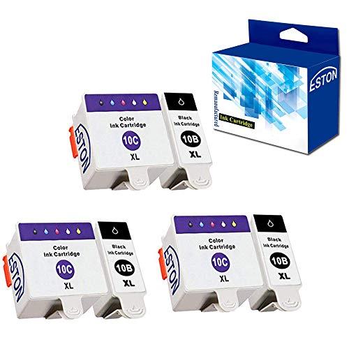 ESTON Ink Cartridges for Kodak 10XLB 10XLC ESP 3250 5210 5250 (3Black 3Color)
