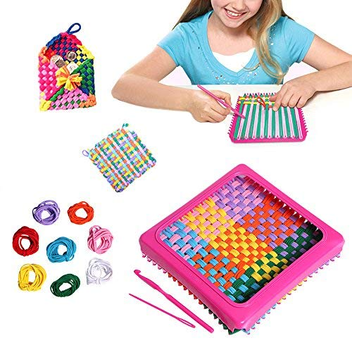 zinnor Children Sewing Kit, 7' Craft Loop Weave Loom Toy Yarn Craft Set Deluxe Loom Kit, Makes 5 Potholders
