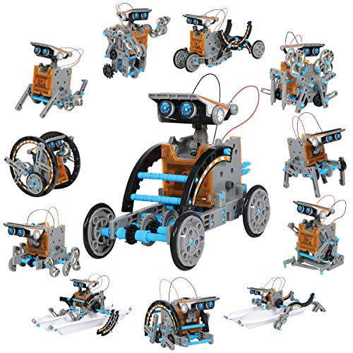 Discovery Kids #MINDBLOWN Solar Robot 12-in-1 Kit, 190-Piece STEM Creation Kit with Working Solar Powered Motorized Engine and Gears, Construction Engineering Set