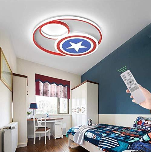 Luz de techo LED Dibujos animados América Capitán Shield Dimmable Remoto Boy Nursery Lámpara Acrílico Lámpara de techo Lámpara de techo Techos Dormitorio ligero Niños, 50 cm (48W)