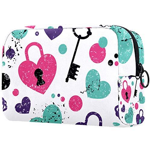 Personalisierte Make-up-Bürstentasche, tragbare Kulturbeutel für Frauen, Handtasche, Kosmetik-Reise-Organizer, Liebesschloss und Schlüssel-Muster