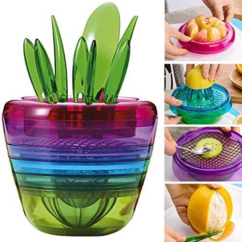 Jian Ya NA Creative10 en 1 multifonctionnel Salade de fruits Cutter Broyeur presse-agrumes Presse-citron Gadget de Cuisine Moulin à fruits Bol Accessoires de Cuisine