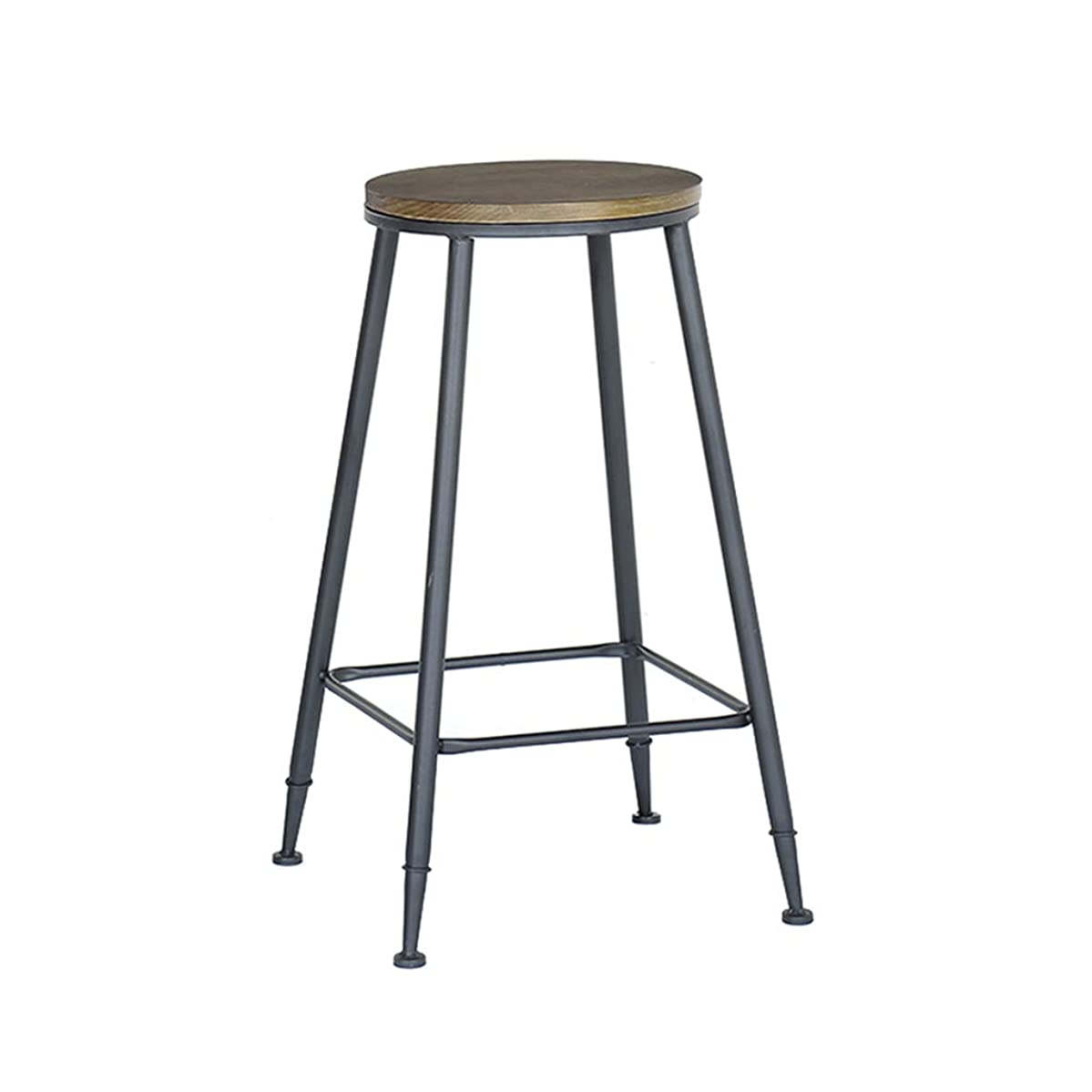LWG – Barstools Bar Stool Wooden Leisure Bar Chair Iron Art High Stool Nordic Dining Chair with Footrest Round/Square Rustic Industrial Style Simple for Restaurant High 75cm