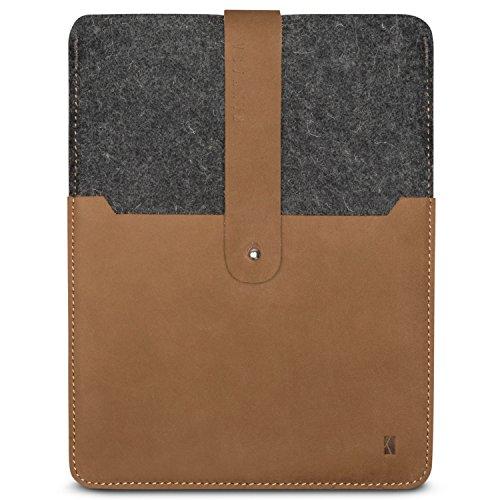 Funda iPad Pro 9.7 / iPad/iPad Air 2 en Fieltro y Piel KANVASA Woods - Premium Cubierta Case Cover para iPad - Gris/Marrón - Bolso Vintage de Mezcla de Lana y Cuero Genuino