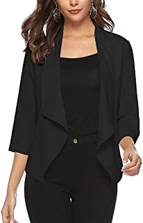 Funnygals - Women's Chiffon Casual 3/4 Long Sleeve Lightweight Waterfall Open Front Cardigan Blazer Coat Bolero Shrugs
