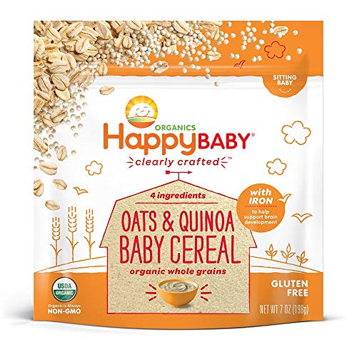 Happy Baby Organics Clearly Crafted Cereal Whole Grains Oats & Quinoa, 7 Ounce Bags (6 Count) Organic Baby Cereal in a Resealable Pouch with Iron to Support Baby's Brain Development a Great First Food