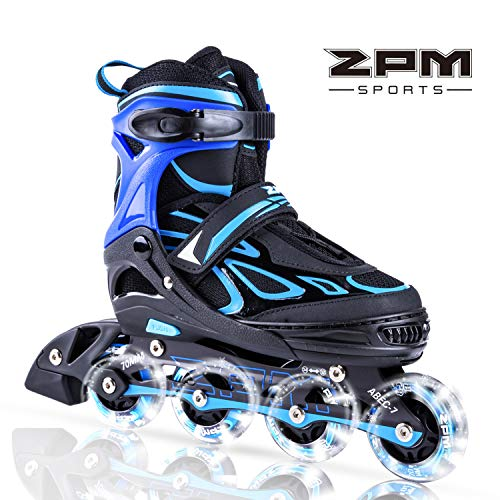 2PM SPORTS Vinal Verstellbar Inliner für Kinder, Leucht Inline Roller Skates Rollschuhe für Damen/Herren (Blue, Small(29-32EU))