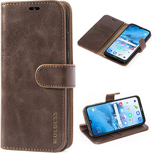 Mulbess Handyhülle für Xiaomi Redmi Note 8T Hülle Leder, Xiaomi Redmi Note 8T Handy Hüllen, Vintage Flip Handytasche Schutzhülle für Xiaomi Redmi Note 8T Case, Kaffee Braun