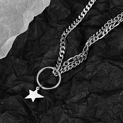 QiuYueShangMao Anillo de Personalidad clásico Estrella de Cinco Puntas Cadena de Doble Capa Cadena de clavícula Collar de Acero de Titanio para Mujer Regalos Collar Regalo de cumpleaños