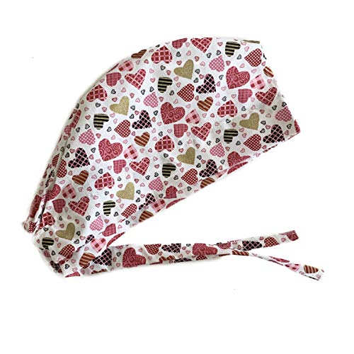Grace N May Scrub Cap Surgical Women - Front Fold Tie Back - Hearts