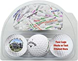 Personalized Callaway Warbird Golf Balls 3 Pack with 20 Imprinted Tees - Now in Christmas Ribbon Packaging-
