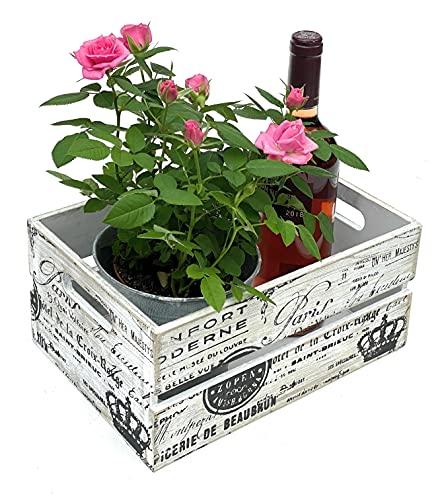 DanDiBo Caja de madera vintage de 30 cm, caja de fruta S, caja de vino antigua, decorativa de madera, 96178, color blanco y negro, con diseño