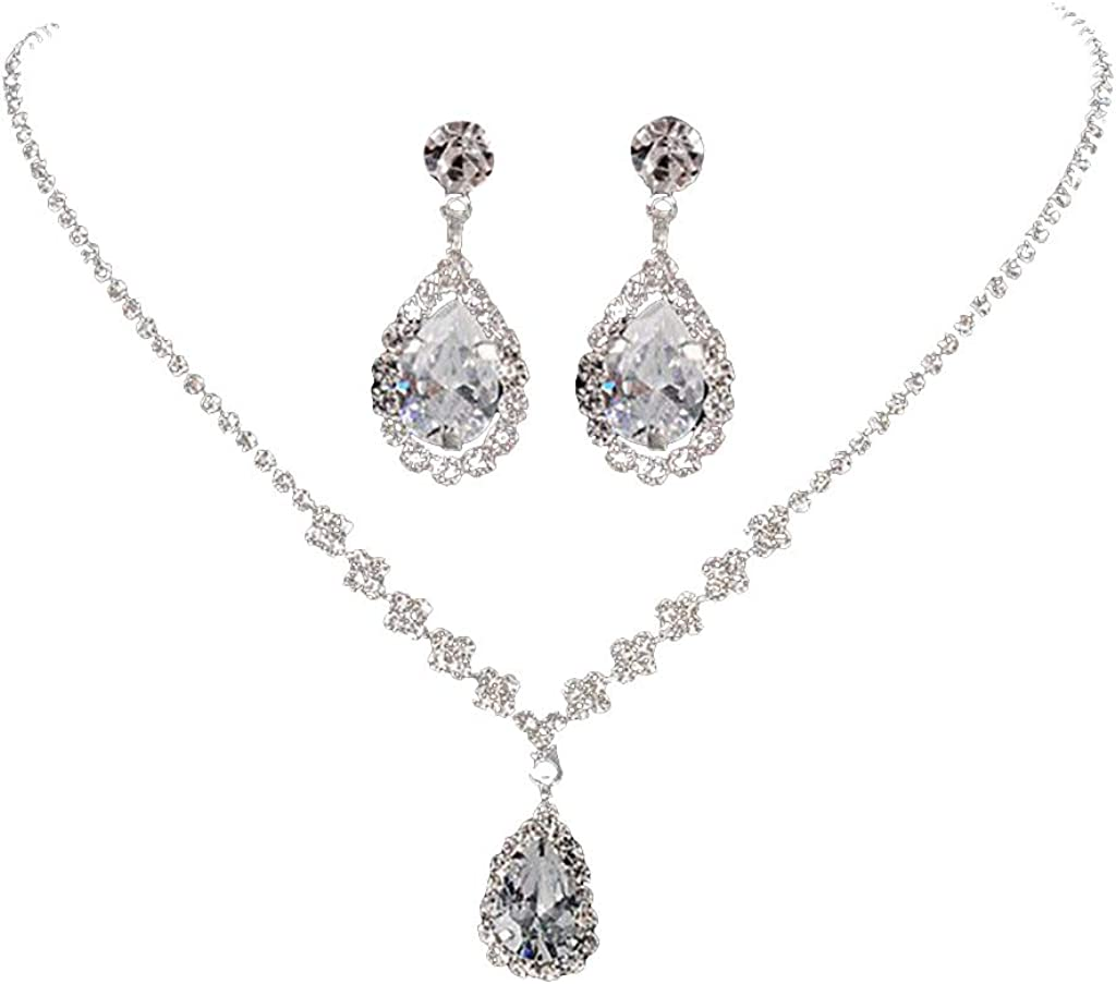 Crystal Beaded Strings Women Wedding Bridal Jewelry Necklace With Earrings Pair