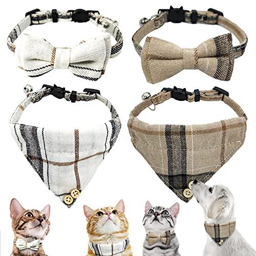 Toyajeco 4 Stück Fliege Katzenhalsband Bandana, Kätzchenhalsband mit Schal und Fliege, verstellbare Katzenfliege mit Glöckchen, Halsband für kleine Welpen (braun & weiß)