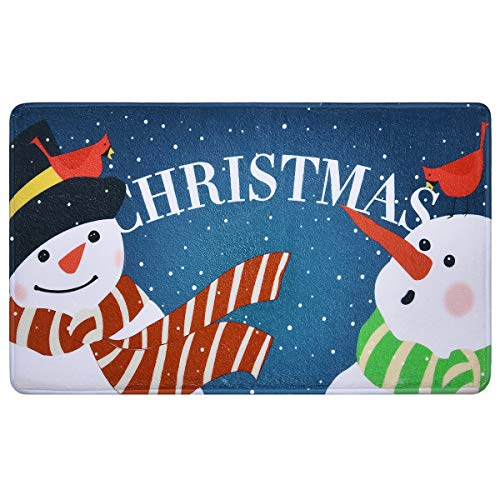 Christmas Snowman Doormats Christmas Area Rugs Christmas Floor Mats 18 × 30 Inches Anti Slip Mats for Indoor Entryway Living Room Bedroom Kitchen Bathroom