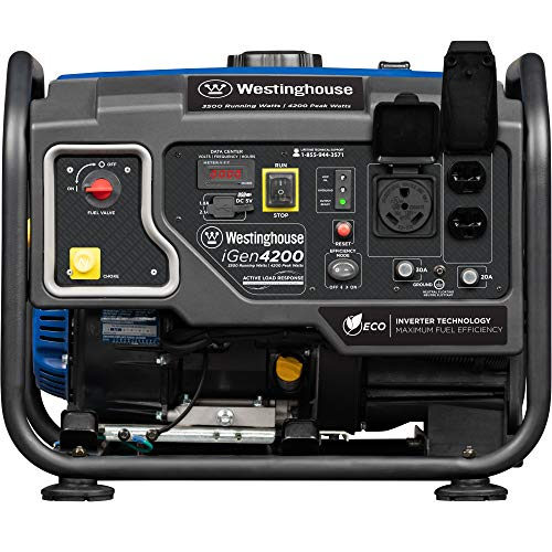 Westinghouse iGen4200 Hybrid Open Frame Inverter Generator - 3500 Rated Watts & 4200 Peak Watts - Gas Powered - RV Ready Outlet