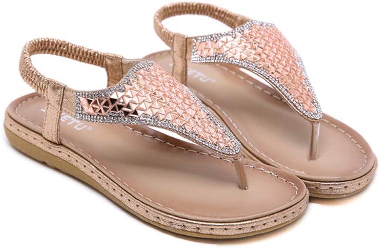 ZHAO YELONG Fashion Beach shoes Rhinestone Large Size Comfortable Ladies Sandals