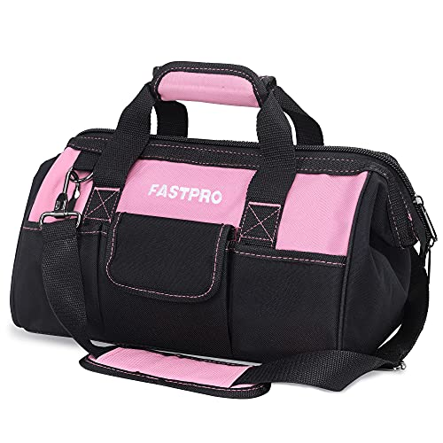 FASTPRO 14-Inch Pink Tool Bag for Women, Zip-top Wide Mouth Open Tool Organizer, with Adjustable Shoulder Strap