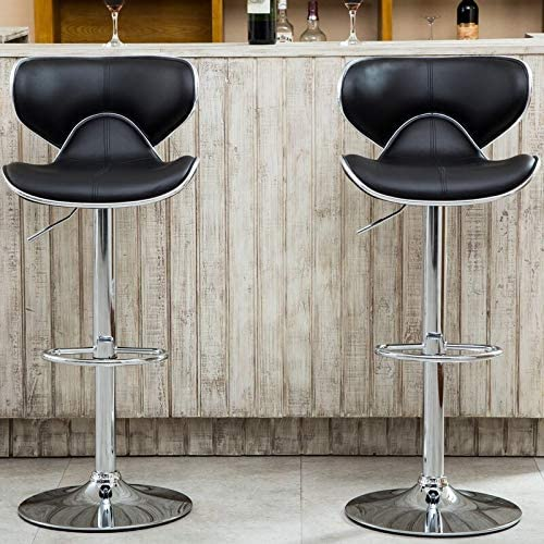 Roundhill Furniture Masaccio Cushioned Leatherette Upholstery Airlift Adjustable Swivel Barstool with Chrome Base, Set of 2, Black