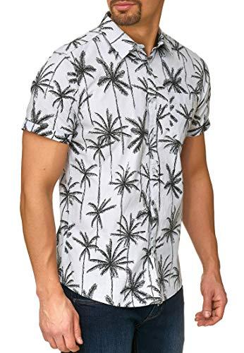 Indicode Herren Edith Hemd mit Allover Palmen-Print & Brust-Tasche aus 100% Baumwolle | Regular Fit Kurzarm Herrenhemd Sommer Sonne Strand & Meer kurzärmlig Freizeithemd für Männer Sky Way XL