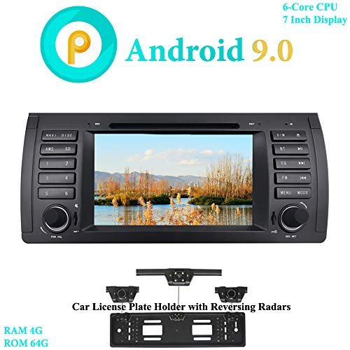 XISEDO 7' Android 9.0 Car Stereo 6-Core RAM 4G ROM 64G In-Dash Head Unit Car Radio GPS Navigation with DVD Player for BMW 5-E39/BMW X5-E53 (with UK/EU License Plate Frame)