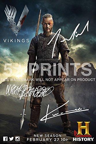 5 Star Prints Vikings Póster Foto 12x 20,32cm Firmado PP autógrafo de Fundido de Travis Fimmel, Katheryn Winnick, Gustaf Skarsgård