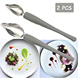 Professional Culinary Drawing Decorating Spoons Set, 2 Pcs Plating Decorating Pencil Spoon for Decorative Plates, Cake,Dessert with Comfortable Handle