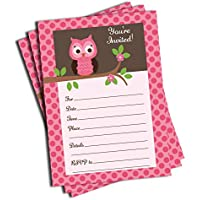 50 Pink Owl Invitations and Envelopes (Large Size 5x7)