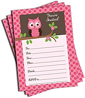 50 Pink Owl Invitations and Envelopes (Large Size 5x7) - Baby Shower - Birthday Party - Any Occasion