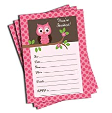 Image of 50 Pink Owl Invitations. Brand catalog list of All Ewired Up.