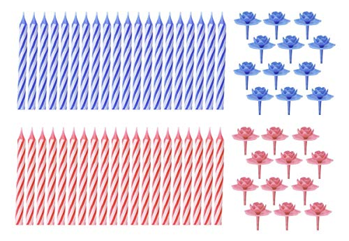 Fackelmann Kerzen, 20 Kerzen/12 Halter, Wachs, blau/rosa sortiert, Höhe 8,5 cm, Durchmesser 7,5 mm, 32-Einheiten