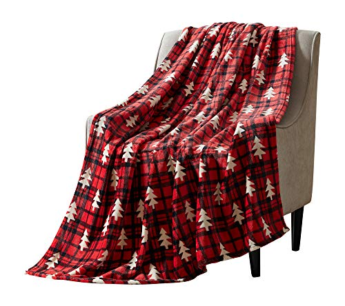 Christmas Tartan Decorative Throw Blanket: Soft Comfy Fleece with Red and Black Plaid Pattern with White Tree Accent for Couch Bed, Colored: Red Black White (Tree Check)