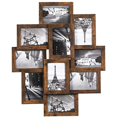 SONGMICS Collage de Marcos de 10 Fotos en 10 x 15 cm, Requiere Montaje, Montado en la Pared, Frente PS, Grano de Madera, Marrón rústico RPF020X01