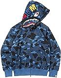 EMLAI Hombre Sudadera con Capucha Estampado de tiburón en 3D con Forro Polar Colmillos de Bape Chaqueta con Cremallera Halloween (S, 1 Camouflage Azul)