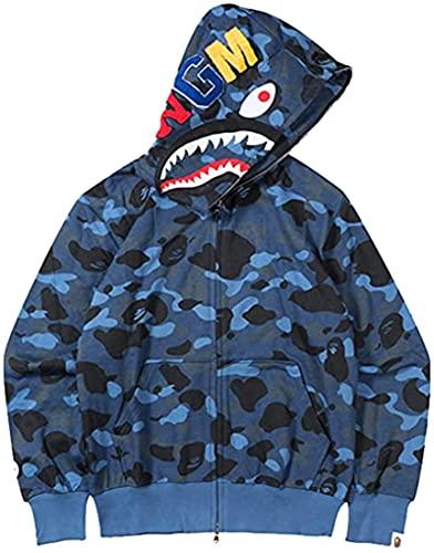 Bape Shark Hombre Sudadera 3D Impresión con Cabeza de Tiburón Manga Larga Hip Hop Tops Camuflaje(XL,Azul 2)