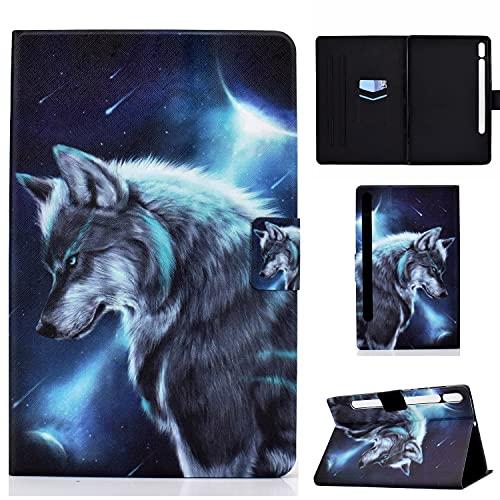 Auslbin Funda para Galaxy Tab S7 11' (SM-T870/SM-T875) 2020,Ultra Slim PU Cuero Funda Flip Casos con Función de Soporte y Auto Sleep/Wake Up,Lobo