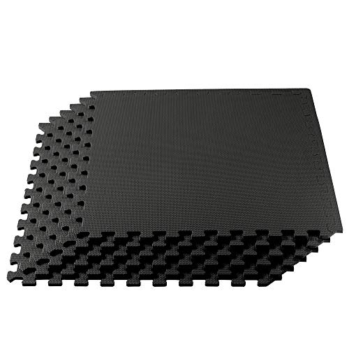 We Sell Mats Multipurpose Exercise Floor Mat with EVA Foam, Interlocking Tiles, Anti-Fatigue, for Home or Gym, 24 Square Feet (6 Tiles), 24 x 24 x 3/8 inch, Black