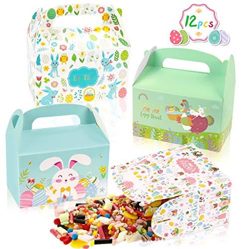 O-Kinee Geschenkboxen zu Ostern,12pcs DIY Osternest,Osterboxen zum Befüllen,Ostergeschenke für Kinder,Basteln für Kinder zu Ostern,Osterkörbchen für Ostergeschenke(12 Stück)