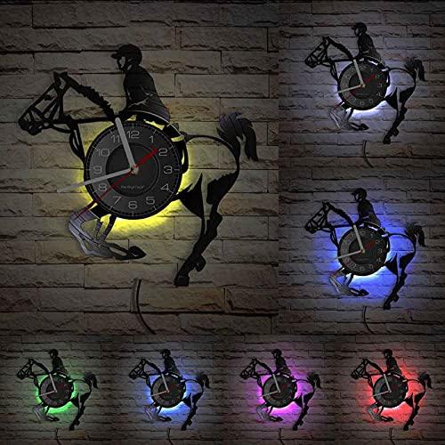Wwbqcl Montar a Caballo Disco de Vinilo Reloj de Pared Ecuestre Carrera de Caballos Relojes de Arte Jinete Decoración del hogar Equino Regalo de equitación con LED